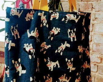 Navy Pug Printed Tote Bag