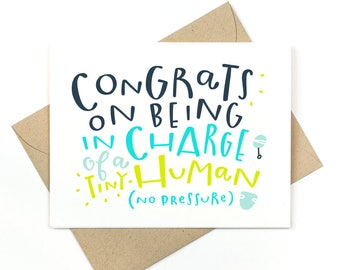 funny new baby card  -  tiny human