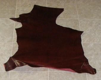 RVA7445-22) Hide of Glazed Burgandy Lambskin Leather Skin