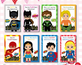 INSTANT DOWNLOAD: DC Comics Valentines Day Cards, Superhero Valentine Cards,  Kids Valentine Card