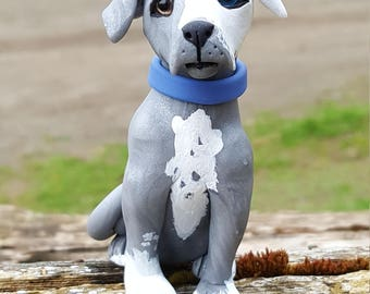 Polymer clay blue and white pit bull dog