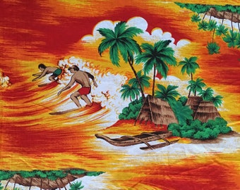 A fun piece of vintage hawaiian scenes fabric/material.  Bright, bold and fun!