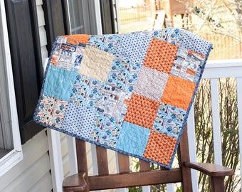 Baby boy quilt, astronaut baby quilt, outer space baby quilt, baby boy quilt, orange baby quilt, navy blue baby quilt