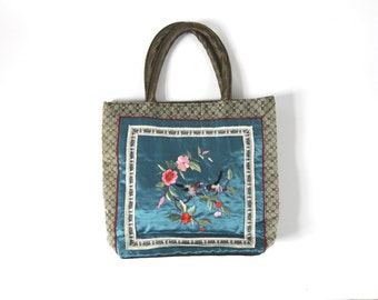 Asian Influence Folk Style Vintage Purse / Hand Bag / Olive Green Turquoise / Goldfish Birds Embroidered