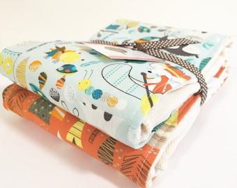Burp Cloth Set of Two, Modern Baby Gift, Burp Cloths, Baby Gifts, Baby Shower Gifts, Burp Rags, newborn baby gift