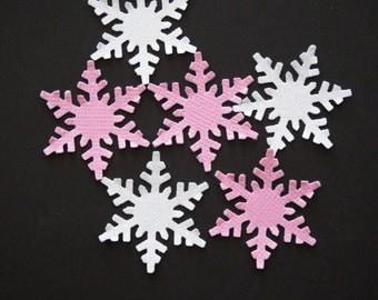 50 Pink and White Glitter Snowflakes,Confetti,Embellishment,Winter Wonderland,Winter Onederland,Frozen,Wedding,Birthday