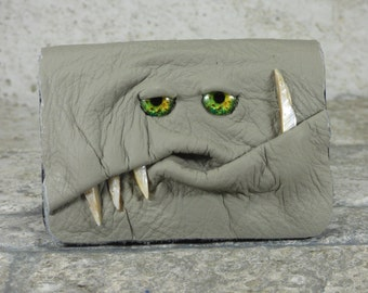 Leather Business Card Case Holder Wallet With Monster Face Gray Business Gift