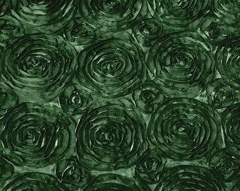 Satin Rosette Hunter Green 52 Inch Fabric by the Yard - 1 yard
