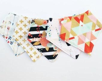 Baby Girl Bandana Bib Set / Drool Bib / Baby Bandana Bibs / Baby Scarf / Toddler Scarf/ Modern Geometric Bandana Bibs / Floral Mint Gold