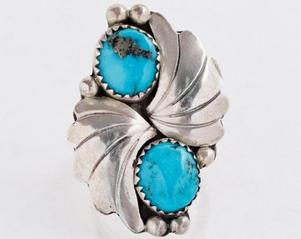 Vintage Turquoise Ring - Vintage Sterling Silver Turquoise Two-Stone Ring