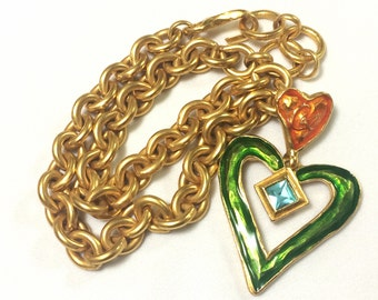 MINT. Vintage Christian Lacroix chain jeweled statement necklace with orange, blue, and green heart pendant top. Gorgeous masterpiece.