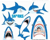 SALE - Clipart - Sharks Week / Under The Sea / Shark - Digital Clip Art (Instant Download)