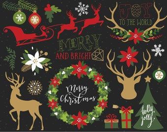 Christmas Clipart / Reindeer Antler Silhouettes / Vintage Christmas Elements - Red Green Gold, hipster, retro, bohemian Christmas