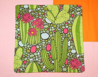 Cactus print cushion cover 45cm X 45 cm 100% quilting quality cotton hand made.