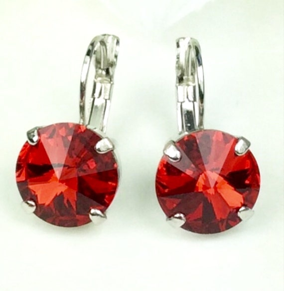 Swarovski Crystal 12MM Drop Earrings - Classy & Feminine - Lt. Siam - Or Choose Your Favorite Color and Finish - FREE SHIPPING