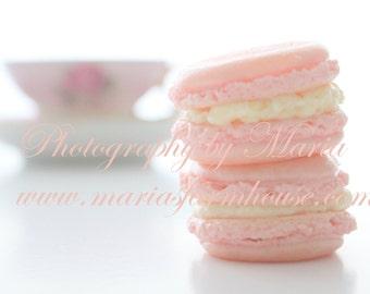 Tea and French Macaron - Pastel Pink French Macaron - Photography by Maria