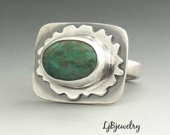 Chrysocolla Ring, Silver Ring, Statement Ring, Cocktail Ring, Metalsmith, Metalwork, Handmade, Artisan Jewelry, Size 7.75