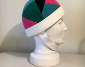 RESERVED for KevinYves Saint Laurent vintage mod scooter felt and leather hat, 1960s geometric shapes