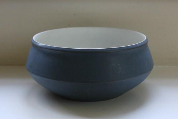 Denby Echo Blue Bowl Made In England - mid-century, matte serving bowl, vegetable bowl, fruit bowl, dining