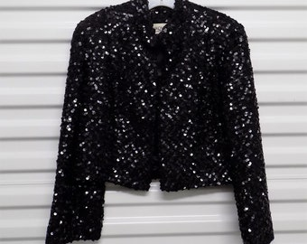 Women Jacket SAKOWITZ Bolero Jacket Black Sequin Galore Jacket Long Sleeve Vintage Jacket Free Shipping