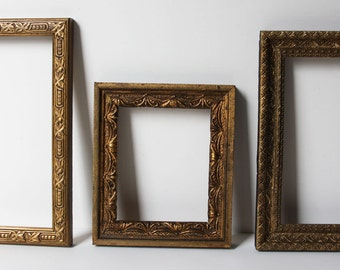 3 Embossed Small Gold Antique Frames, Would Make a Great Arrangement, c.1880, Original Finish