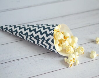 Paper petal cones, navy and white chevron print, rose petal toss, chevron confetti cones, wedding favors, party favors, made to order