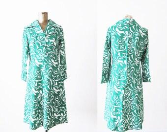 1970s Dress / Vintage 70s Dress / Long Sleeve Dress / Green White Psychedelic Swirl Retro Sundress