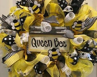 Queen Bee deco mesh wreath