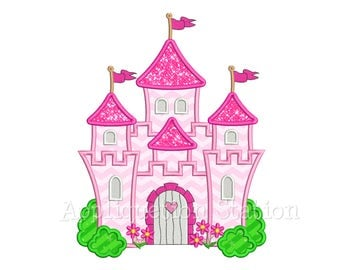 Grand Castle Applique Machine Embroidery Design pink girl palace INSTANT DOWNLOAD