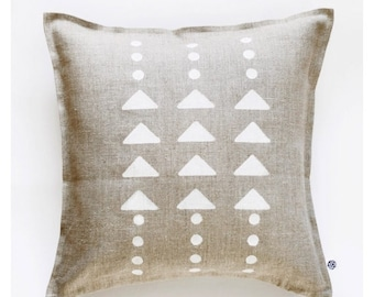 On sale 10% OFF Geometric throw pillow print on linen cover hand painted - modern white triangles and polka dots pattern 0110