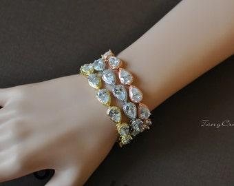 Gold Crystal Bridal Bracelet, Crystal Gold Bracelet, Gold Tennis Bracelet, Crystal Bridal Jewelry, KELLY