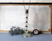 Vintage cut glass shabby chic style lamp, glass table lamp.