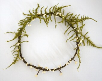 Flower Crown, Bridal Headpiece, Rustic Bridal Shower Crown,Natural Wedding Hair Crown, Woodland Fern Crown