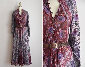 RARE 70s Sultana by Adini caftan dress/ vintage 1970s designer dress / floral maxi dress