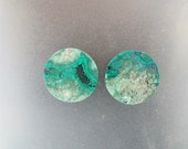 "Malachite Chrysocolla 1"", 25mm, 14mm thick one pair ear plugs"