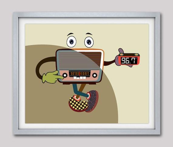 Antique Radio Poster, Senior Gifts, Retro Poster, Radio Poster, Radio DJ Gift, Radio Art, Radio Lovers Gifts, Vintage Radio, Senior Gift