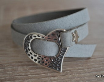 Leather Bracelet with heart clasp