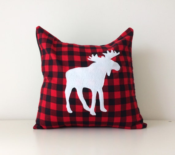 Canadian Inspired Home Decor Canada Pillow Via Etsy: Moose Silhouette Pillow Cover 16x16 Flannel Red Black