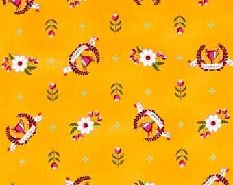 Tula Pink, 1/2 YD - Slow & Steady Winner's Circle, Trophies, Orange - Quilting Fabric, By the Half Yard