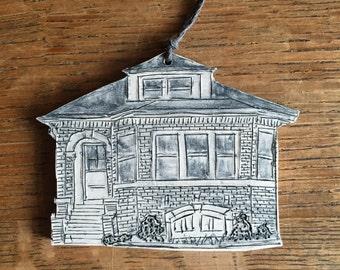 Chicago Bungalow Porcelain Ornament- first home, chicago architecture, house portrait