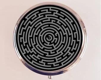 Labyrinth Maze Pill Box Case Pillbox Holder Stash Trinket Box Pop Art