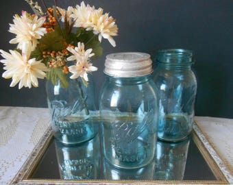 3 Blue antique Ball Perfect, #12 mason jar with Presto zinc milk glass lid and two without lids  #2 and #9 wedding decor rustic decor