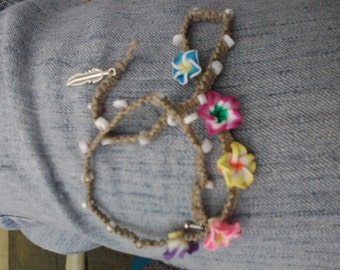 rainbow plumeria flower and hemp choker