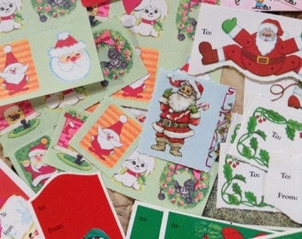 Gift Tags Retro Christmas Assortment with Stickers Holiday Wrapping Mid Century Decor