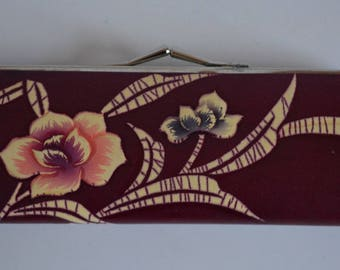 Coin purse, red vinyl with floral design, 1960s vintage Japanese bag