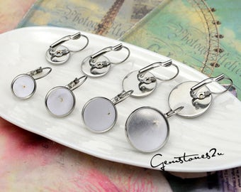 20pcs Earring Blank--stainless steel french earwires hooks 8mm / 10mm / 12mm / 14mm / 16mm / 18mm / 20mm French Earwires Hook With Round Pad