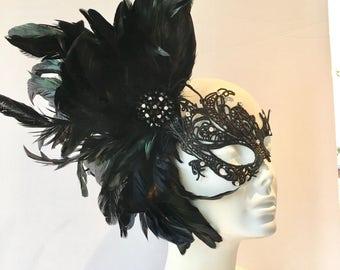 Black Lace Mask -Black Mask- Feather Mask -Masquerade Mask- Mayors Masked Ball -Costume Party- Masquerade Ball- Mardi Gras Mask- Rhinestone