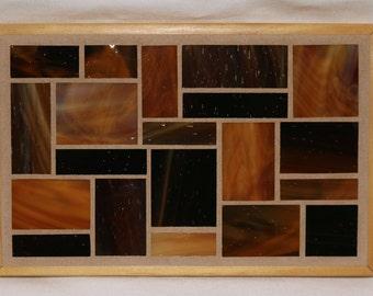 Amber glass mosaic trivet with natural wood trim