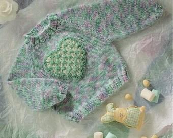 PDF, Instant Download, Baby Knitting Pattern, Jumper love Heart Detail, DK Wool