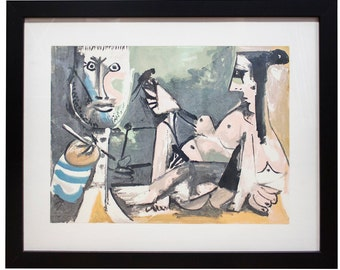 Pablo Picasso-The Artist and His Model-1991 Framed Serigraph